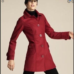 Anthropologie Tulle Red Winter Coat